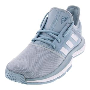 Juniors` SoleCourt Tennis Shoes Ash Gray and White