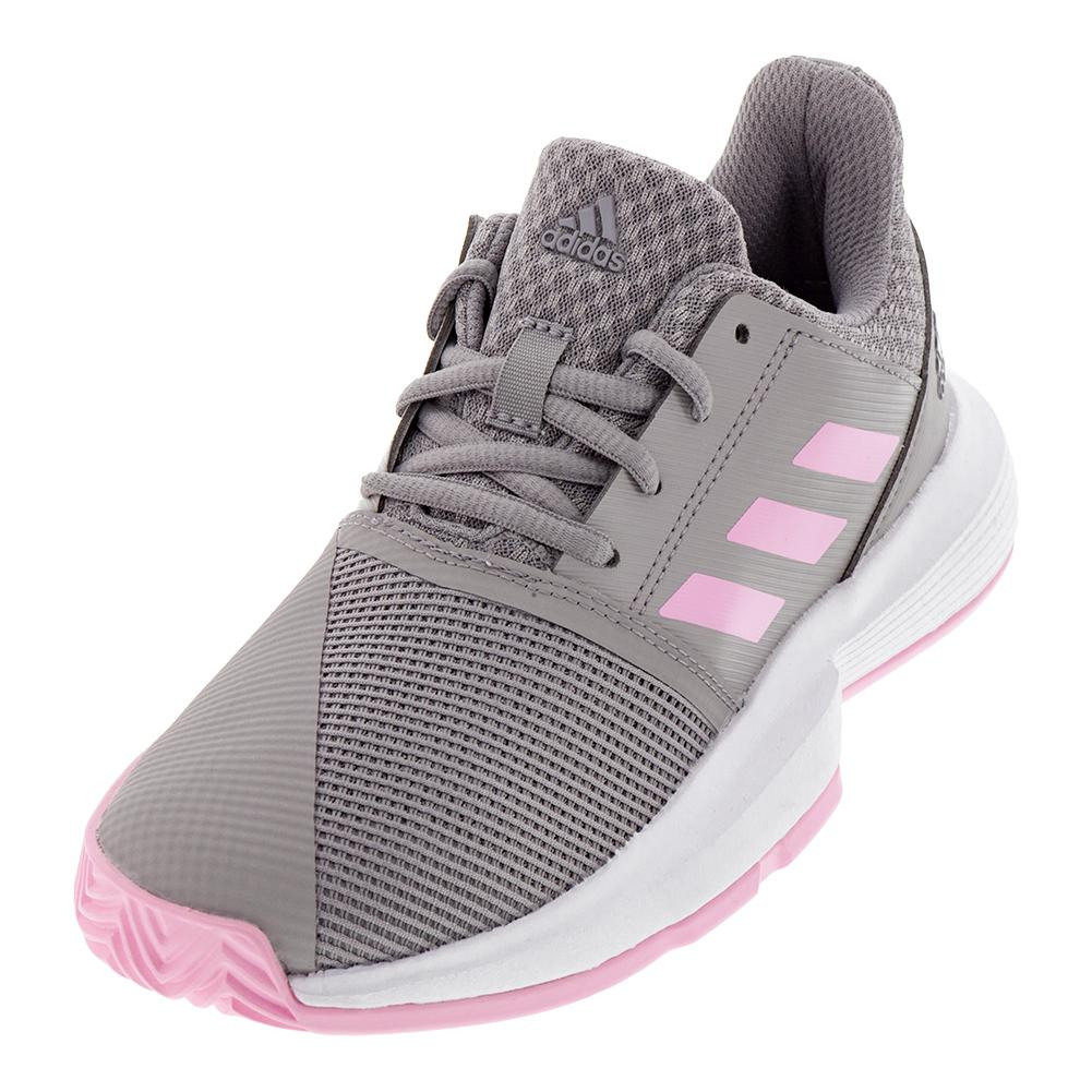 Juniors ` Courtjam Xj Tennis Shoes Light Granite And True Pink