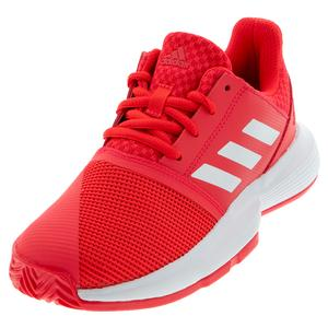 Juniors` CourtJam XJ Tennis Shoes Shock Red and White