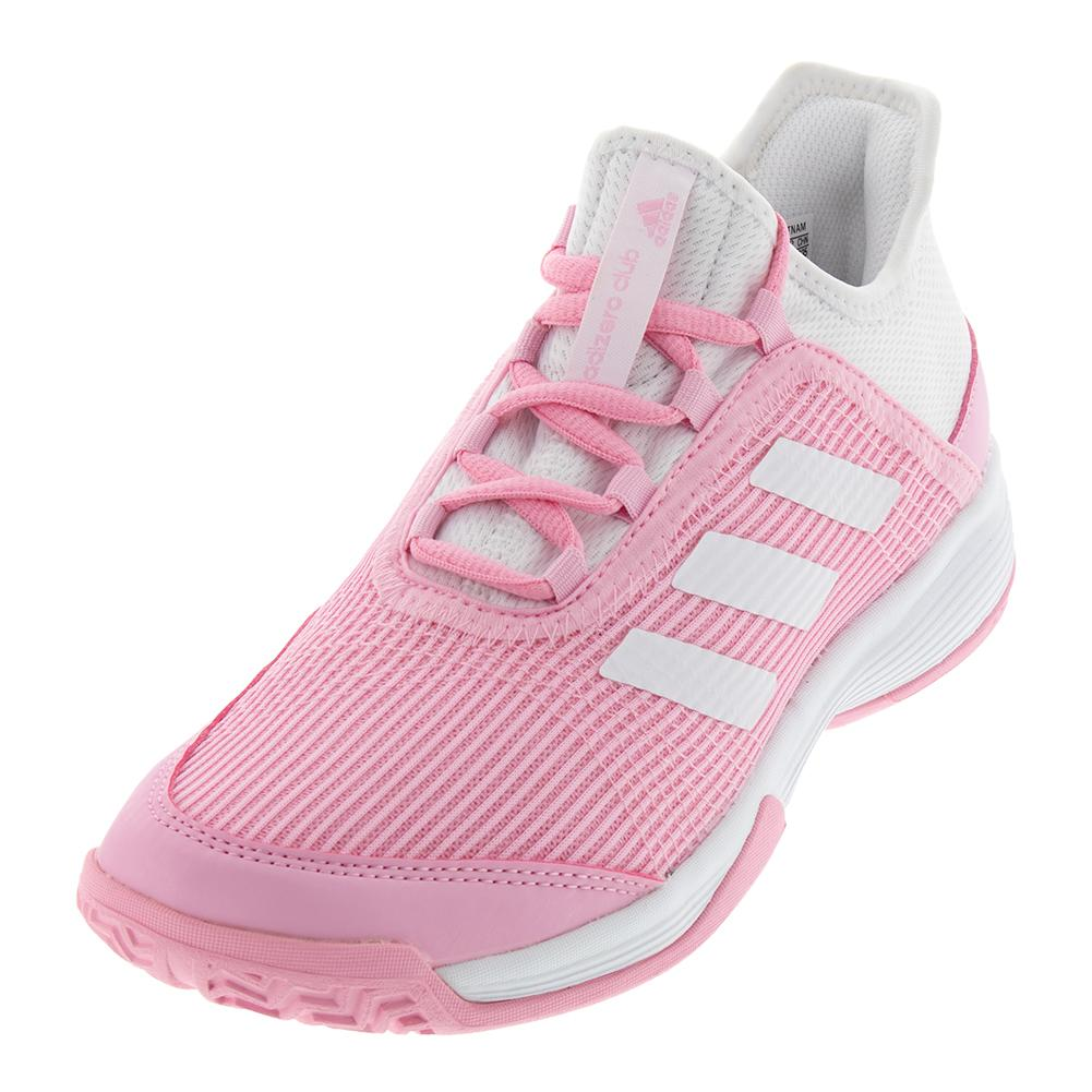 Juniors ` Adizero Club K Tennis Shoes True Pink And White