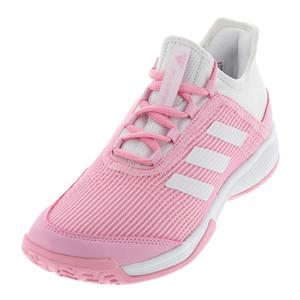 Juniors` Adizero Club K Tennis Shoes True Pink and White