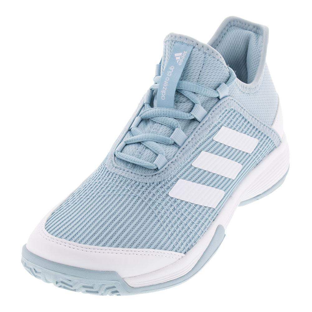 Juniors ` Adizero Club K Tennis Shoes Ash Gray And White