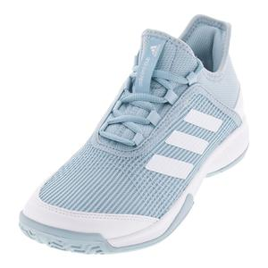 Juniors` Adizero Club K Tennis Shoes Ash Gray and White