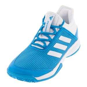 Juniors` Adizero Club K Tennis Shoes Shock Cyan and White
