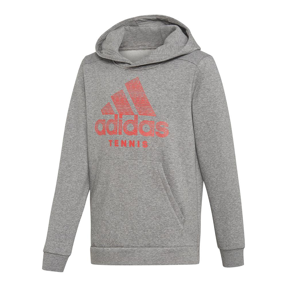 Juniors ` Club Tennis Hoodie Core Heather And Shock Red