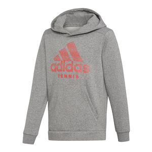 Juniors` Club Tennis Hoodie Core Heather and Shock Red