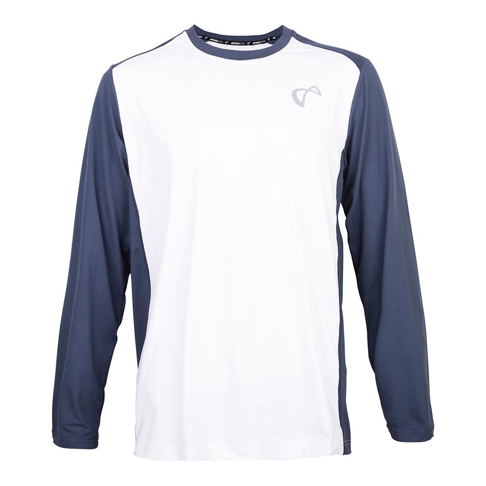 Boys ` Ventilator Long Sleeve Tennis Top White And Denim