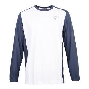 Men`s Ventilator Long Sleeve Tennis Top White and Denim
