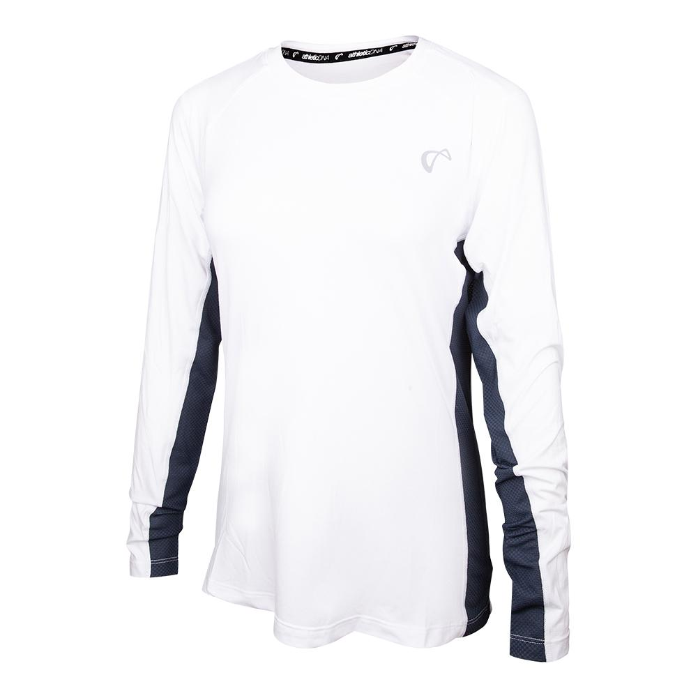 Girls ` Advantage Long Sleeve Tennis Top White And Denim