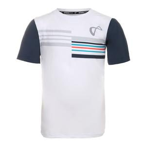 Men`s Stripes Mesh Back Tennis Crew Denim