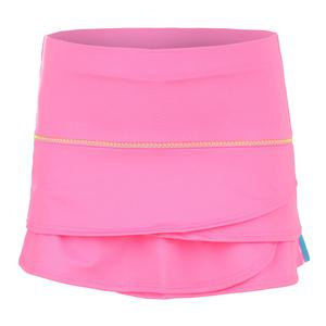 Girls` Racing Stripe Scallop Tennis Skort Pink