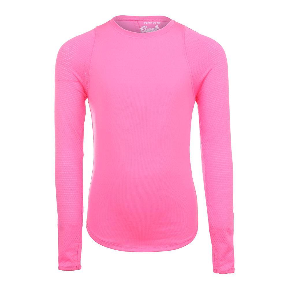 Girls ` Long Sleeve Tennis Crew Pink
