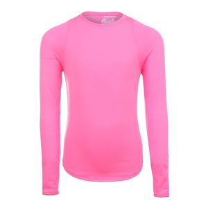 Girls` Long Sleeve Tennis Crew Pink