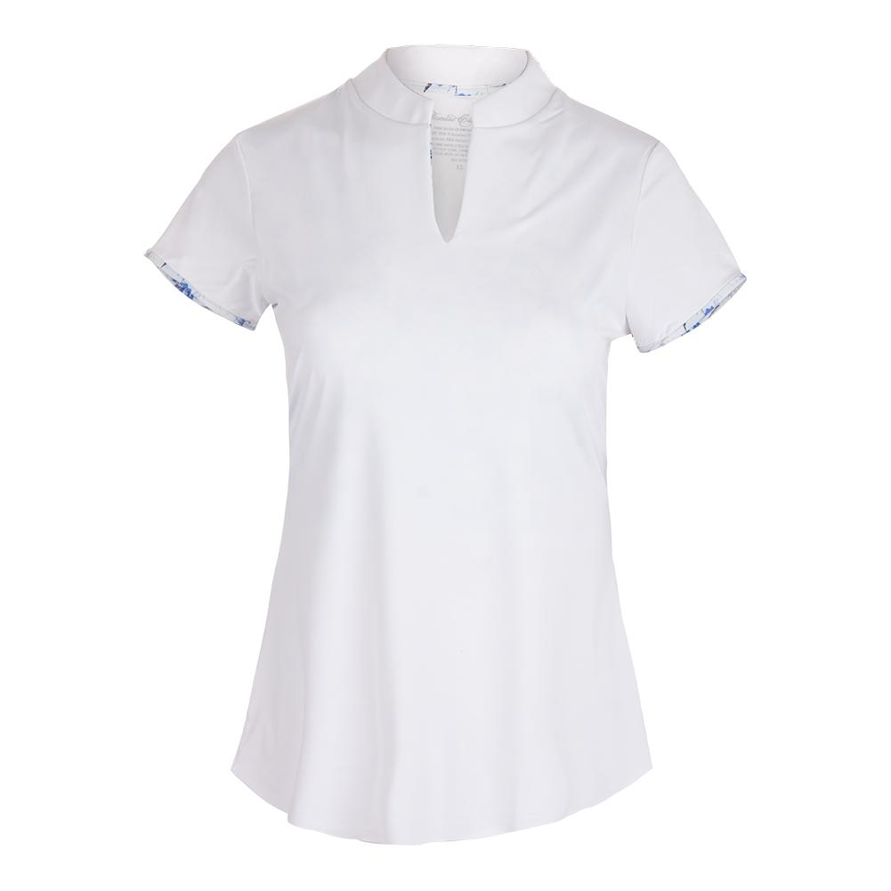 Women's Cap Sleeve Collar Tennis Top White And Print Trim