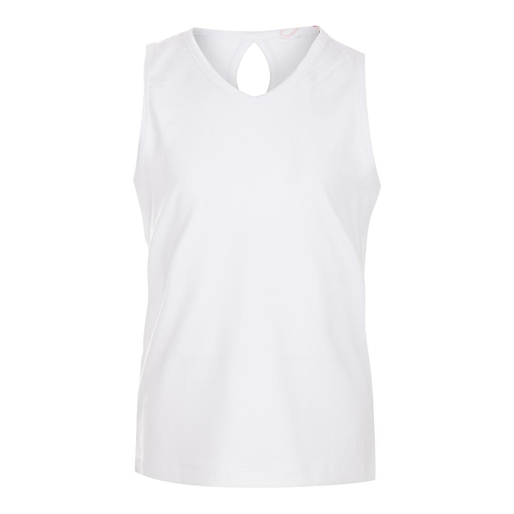 Girls ` Keyhole Back Tennis Tank White