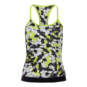 Women`s Cross Back Tennis Tank Morning Glory Print