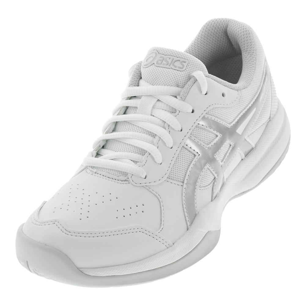 a325800a256 ASICS Juniors' Gel-Game 7 GS Tennis Shoes in White and Silver ...