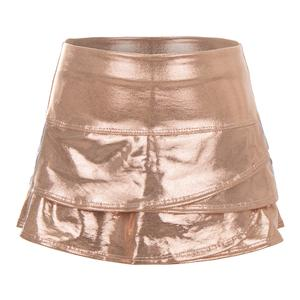 Girls` Metallic Stripe Scallop Tennis Skirt Rose Gold