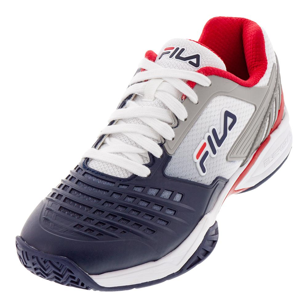 FILA FILA Men s Axilus 2 Energized Tennis Shoes White And Navy 126fbf0ed02aa