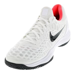 Men`s Zoom Cage 3 Tennis Shoes White and Bright Crimson