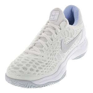 Women`s Zoom Cage 3 Tennis Shoes White and Metallic Silver