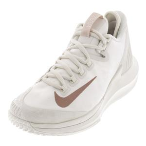 Women`s Court Air Zoom Zero Tennis Shoes Phantom and Metallic Rose Gold