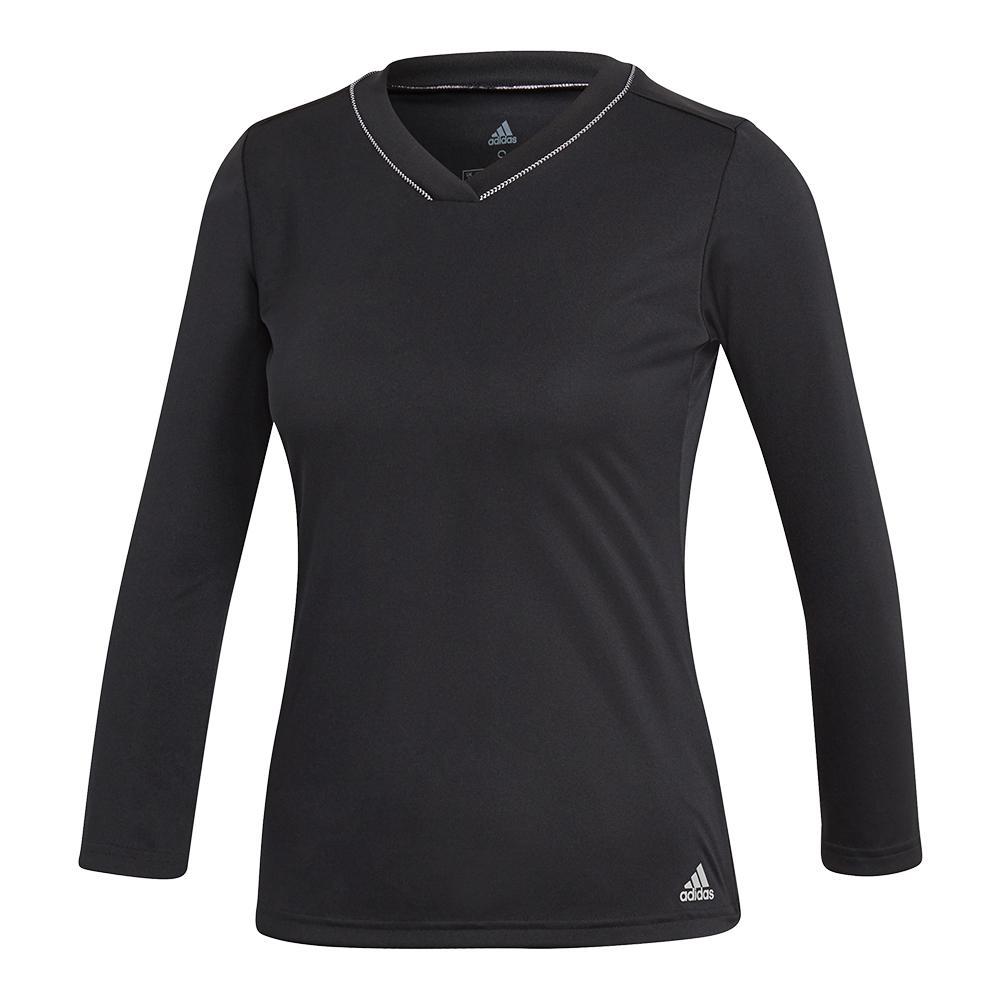 Women's Club Uv Protect 3/4 Sleeve Tennis Top Black