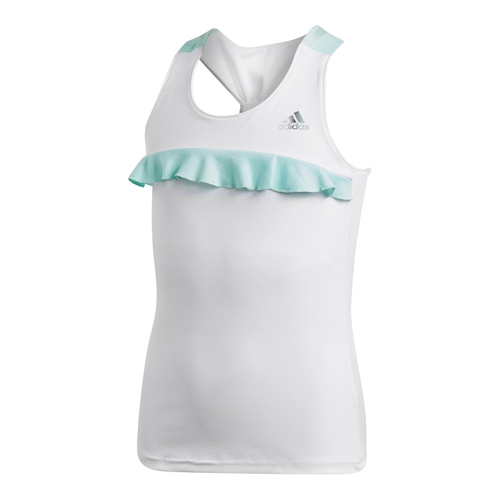 Girls ` Ribbon Tennis Tank White