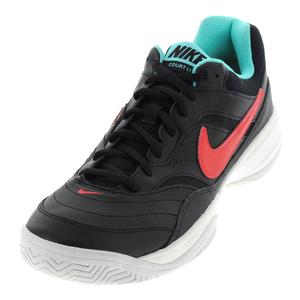 Men`s Court Lite Tennis Shoes Black and Bright Crimson