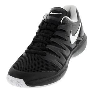 Juniors` Air Zoom Prestige Tennis Shoes Black and White