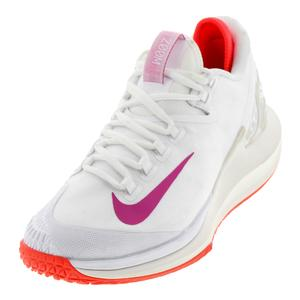 Women`s Court Air Zoom Zero Tennis Shoes White and Active Fuchsia