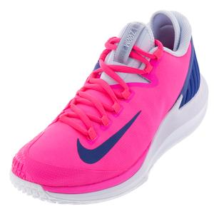 Women`s Court Air Zoom Zero Tennis Shoes Pink Blast and Indigo Force