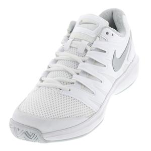 Women`s Air Zoom Prestige Tennis Shoes White and Metallic Silver