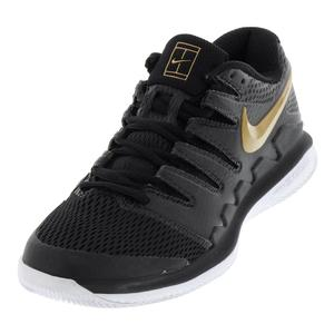 Women`s Air Zoom Vapor X Tennis Shoes Black and Metallic Gold