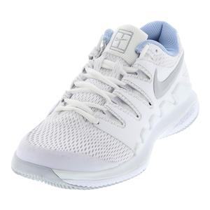 Women`s Air Zoom Vapor X Tennis Shoes White and Metallic Silver