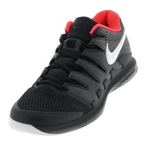 Juniors` Air Zoom Vapor X Tennis Shoes Black and White