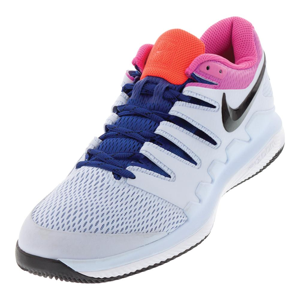 Juniors ` Air Zoom Vapor X Tennis Shoes Half Blue And Laser Fuchsia