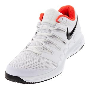 Men`s Air Zoom Vapor X Tennis Shoes White and Bright Crimson