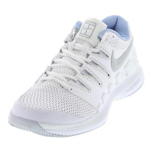 Women`s Air Zoom Vapor X Wide Tennis Shoes White and Metallic Silver