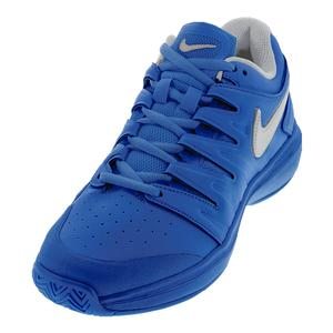 Men`s Air Zoom Prestige Leather Tennis Shoes Indigo Force and Metallic Silver