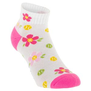 Women`s Flower Tennis Ball Quarter Crew Socks White