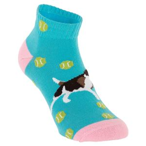 Women`s Tennis Dog Crew Socks Blue