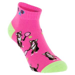 Women`s Tennis Cat Crew Socks Pink