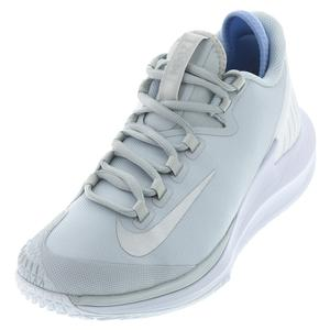 Women`s Court Air Zoom Zero Tennis Shoes Pure Platinum and Metallic Silver