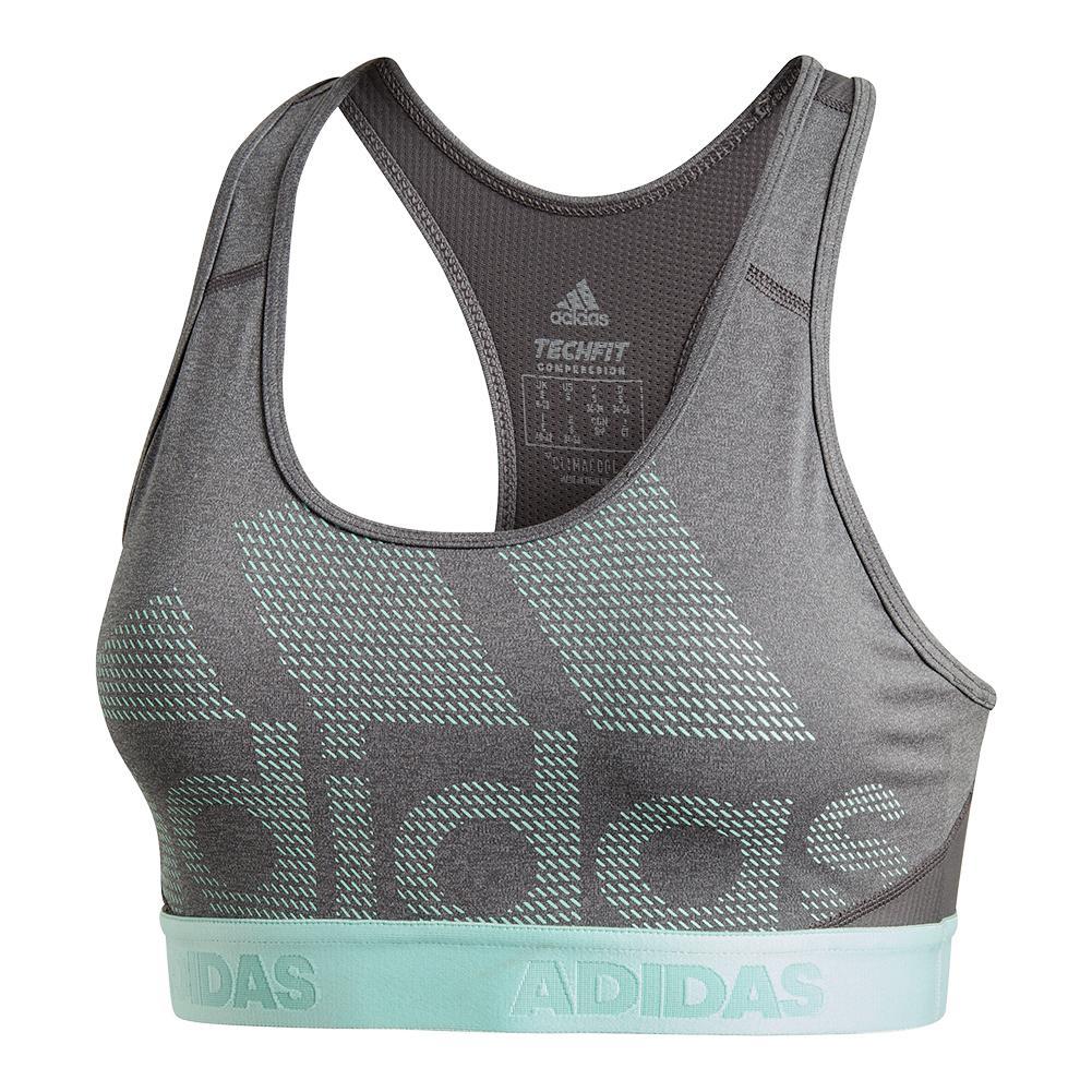0c3de8f1127e5 ADIDAS ADIDAS Women s Don ` T Rest Alphaskin Sport Bra Dark Gray Heather  And Clear Mint