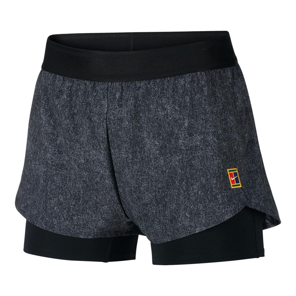 Women's Melbourne Night Time Court Dry Flex Print Tennis Short Grey And Black
