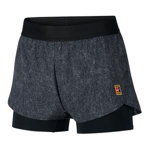 Women`s Melbourne Night Time Court Dry Flex Print Tennis Short Grey and Black