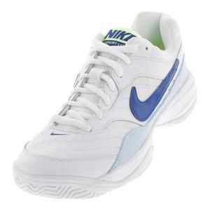 Men`s Court Lite Tennis Shoes White and Half Blue
