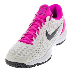 Men`s Zoom Cage 3 Tennis Shoes Platinum Tint and Laser Fuchsia