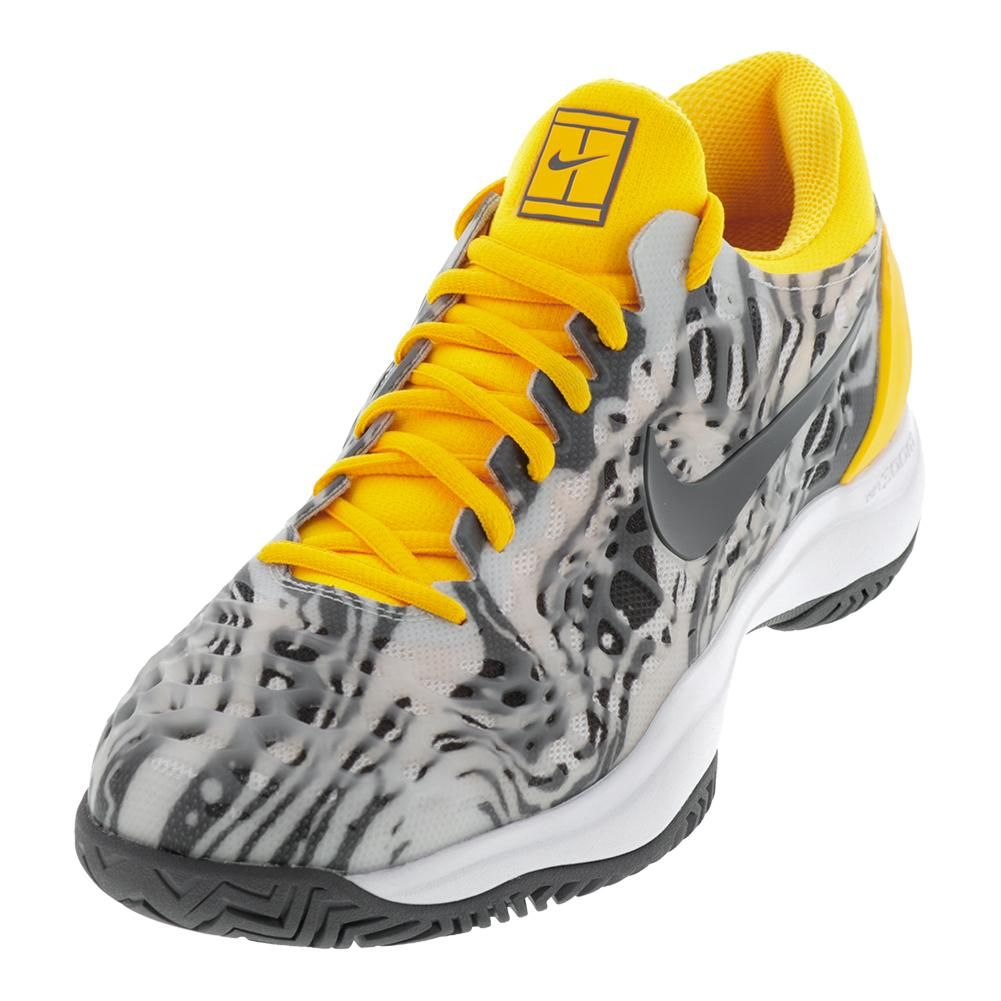 Juniors ` Zoom Cage 3 Tennis Shoes Platinum Tint And Thunder Gray